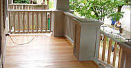 Clear vertical grain fir porch floor with teak oil finish.